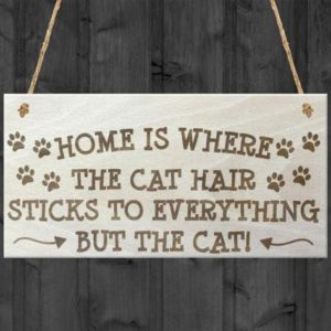 """Home is Where the Cat Hair Sticks to Everything"" Wooden Sign"