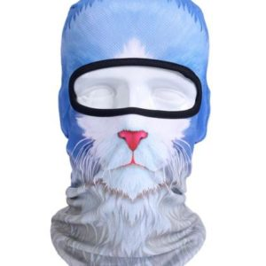 Cat Face Balaclava - White and Blue