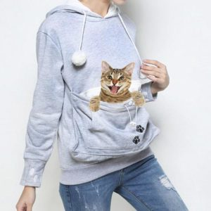 Cat Pouch Hoodie - Gray, Front