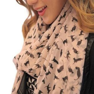 Chiffon Cat Scarf - Antique Pink With Black Cats