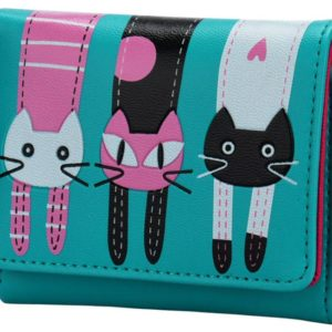 Cat Wallet - Teal, Front